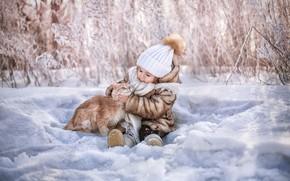 Picture winter, cat, snow, hat, girl