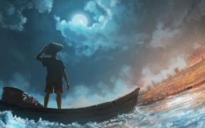 Picture fire, fire, shore, boat, fishman