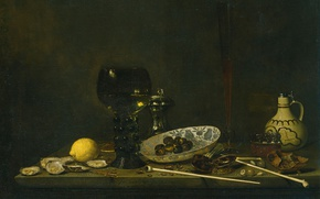 Wallpaper canvas, Jan Jans van de Velde III, Still life with Goblet Flute Cruse, and Pipes, ...