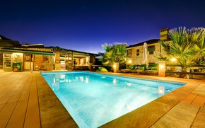 Picture night, lights, Villa, pool
