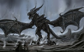 Picture monster, wings, man, dragon, fang, Alduin's Body