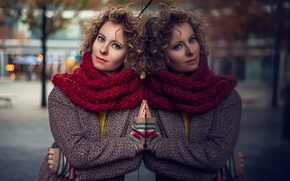 Picture girl, reflection, scarf, brown hair, curls, coat