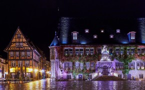 Picture lights, night, Germany, lights, Quedlinburg, home, area