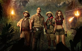 Wallpaper trees, background, rocks, fire, jungle, fantasy, adventure, poster, torches, characters, sculpture, Dwayne Johnson, Dwayne Johnson, ...