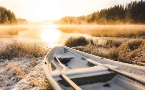 Picture winter, frost, lake, boat, morning