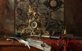 Picture pen, watch, map, rider, still life, bell, spyglass, ink