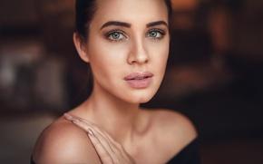 Picture portrait, makeup, brunette, hairstyle, bokeh, Jenna, Martin Kühn