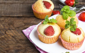 Picture strawberry, cakes, strawberry, cupcake, cupcakes, muffin