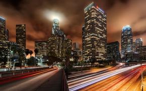 Picture night, bridge, lights, excerpt, USA, Los Angeles