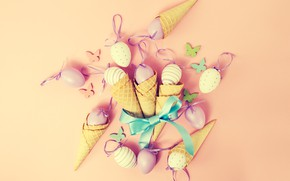 Picture background, pink, eggs, spring, Easter, horn, pink, spring, Easter, eggs, decoration, Happy, waffle