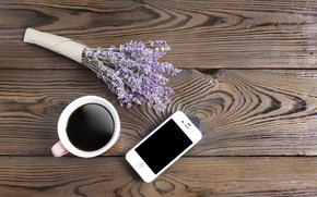 Picture coffee, bouquet, phone, lavender