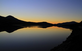Picture twilight, lake, hills, dusk, silhouettes