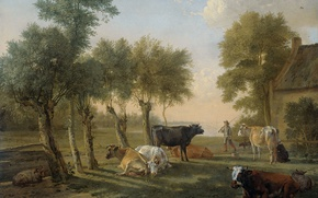 Picture animals, oil, picture, canvas, Paulus Potter, Cows on Pasture near the Farm