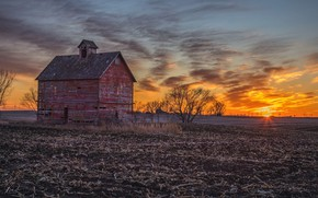 Picture field, sunset, house