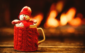 Picture New Year, Christmas, Cup, snowman, fireplace, Christmas, cup, Merry Christmas, Xmas, cocoa, snowman, fireplace, holiday …