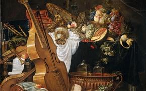 Wallpaper Cornelis de hem, musical instruments, Still life, fruit, picture