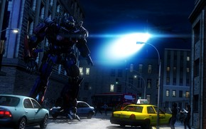 Picture light, night, the city, street, robot, helicopter, alien, Transformers, optimus prime, autobot