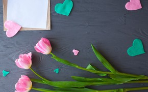 Picture flowers, gift, hearts, tulips, pink, wood, pink, flowers, romantic, hearts, tulips, gift, spring
