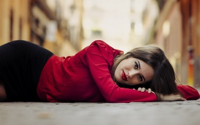 Picture look, girl, model, skirt, blouse, Berta Escudero