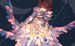 Picture space, wings, angel, feathers, girl, Card Captor Sakura, Sakura - collector cards