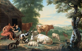 Picture animals, oil, picture, Arcadian Landscape with Shepherds and Cows, Jan van Rumble