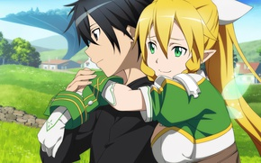 Picture look, anime, art, girl, guy, Sword art online, Sword Art Online, Kirito