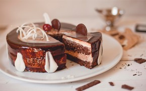 Picture chocolate, cake, layers, cream