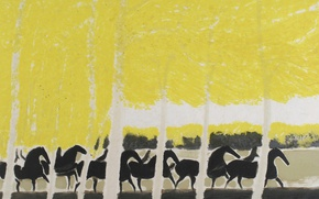 Picture landscape, picture, Andre Brasilier, Horses Among The Trees