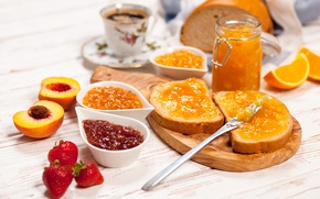 Picture coffee, Breakfast, strawberry, bread, apricot, jam