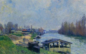 Picture landscape, river, picture, Alfred Sisley, Alfred Sisley, Laundry in Boulogne-Billancourt