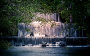 Picture trees, branches, river, stones, waterfall, Japan, cascade