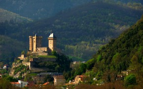 Picture mountains, the city, France, fortress, France, Ariège, Castle of Foix
