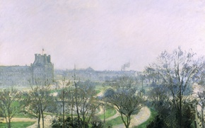 Picture landscape, the city, Park, picture, Camille Pissarro, The Tuileries Garden