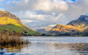 Picture clouds, mountains, lake, Wales, Llyn Nantlle Uchaf