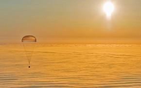 Wallpaper lander, parachute, Union, clouds
