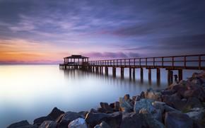 Picture sea, the sky, clouds, sunset, sunrise, stones, the ocean, dawn, shore, pier, pierce