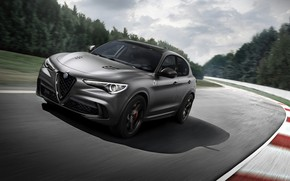 Picture Alfa Romeo, racing track, 2018, crossover, Four-leaf clover, Stelvio