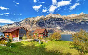Picture mountains, river, hdr, Switzerland, Switzerland, the cabin in the mountains, ultra hd, Runner mountain, Näfels, …