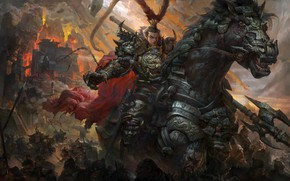 Wallpaper war, the game, army, art, battle, fantasy, the leader, Dynasty Warriors, Guang Yi, Devil Lv ...