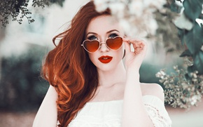 Picture leaves, girl, branches, background, portrait, makeup, glasses, hairstyle, red, beautiful, redhead, in white, flowers, bokeh