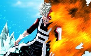Picture fire, flame, ice, anime, hero, manga, powerful, strong, uniform, yuusha, spark, seifuku, Boku no Hero ...