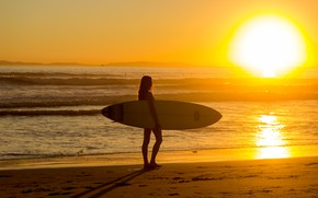Wallpaper summer, dawn, girl, sea, Board surfer