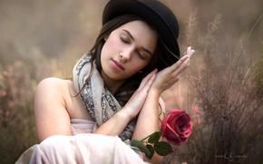 Wallpaper hat, hands, bokeh, mood, girl, flower, rose