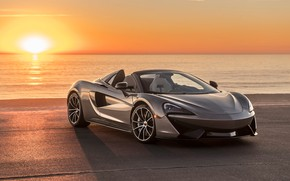 Wallpaper sunset, coast, McLaren, supercar, 2018, Spider, 570S