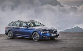 Picture clouds, overcast, BMW, Playground, universal, xDrive, Touring, 530d, 5, dark blue, 2017, 5-series, G31
