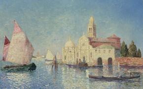 Picture boat, picture, sail, the urban landscape, View Of Venice, Ferdinand du Puigaudeau, Ferdinand du Plegado