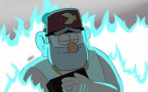 Picture blue, fire, cartoon, hat, fish, grandpa, Gravity Falls, stan pines