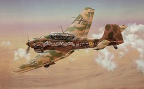 Wallpaper Art, Stuka, Air force, dive bomber, Junkers Ju-87R-2/trop