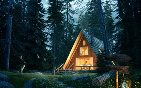 Picture Lost in the forest, Forest House Jour Nuit, house, lantern, forest, deer