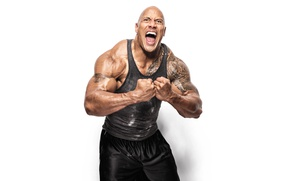 Wallpaper actor, scream, tattoos, Dwayne Johnson, musculation